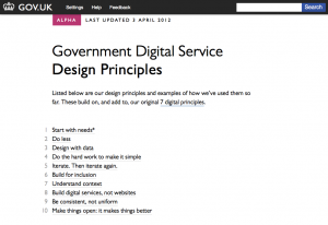 Screenshot of the GDS Design Principles web page