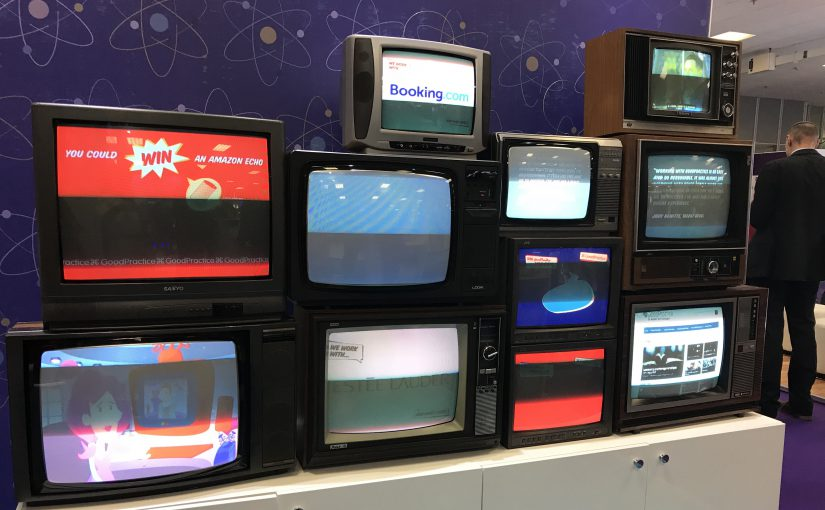 Retro televisions on the GoodPractice stand at Learning Technologies 2018