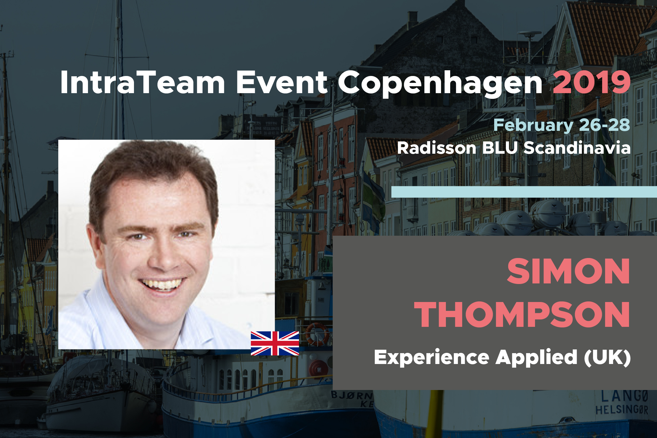 Banner for IntraTeam Event Copenhagen 2019 with photo and title of Simon Thompson