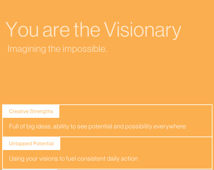 "Bright orange page with caption ""You are the visionary - imagining the impossible"""