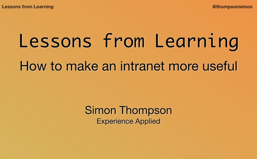 Lessons from Learning – the post
