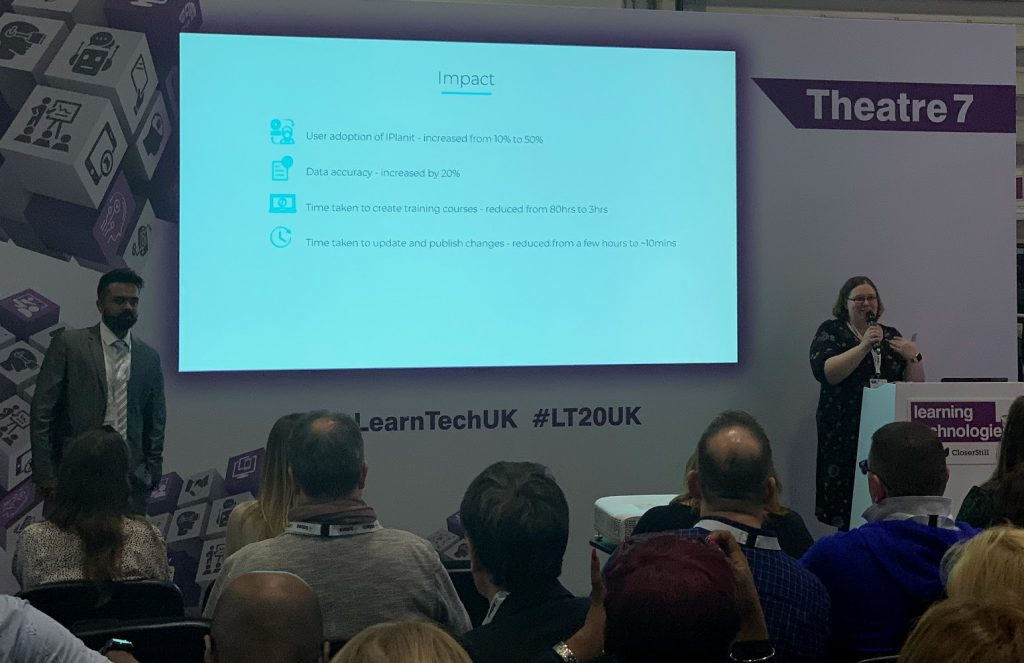 Whatfix presentation describing the impact of using WhatFix: user adoption increase from 10% to 50%; data accuracy increased by 20%; training creation reduced from 80 hours to 3; time taken to make changes from hours to less than 10 minutes.
