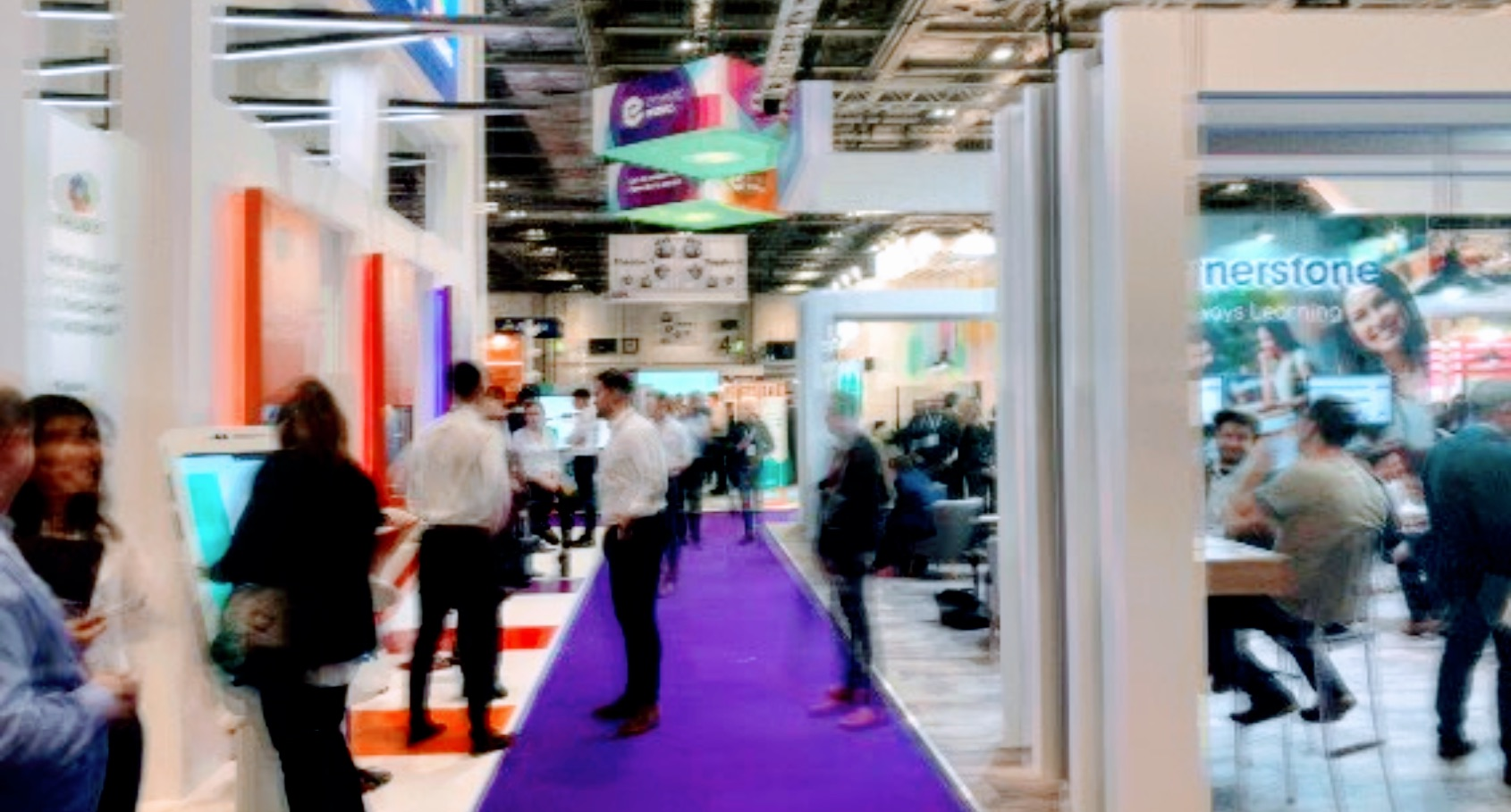 Long exposure image of the Learning Technologies exhibition hall at Excel